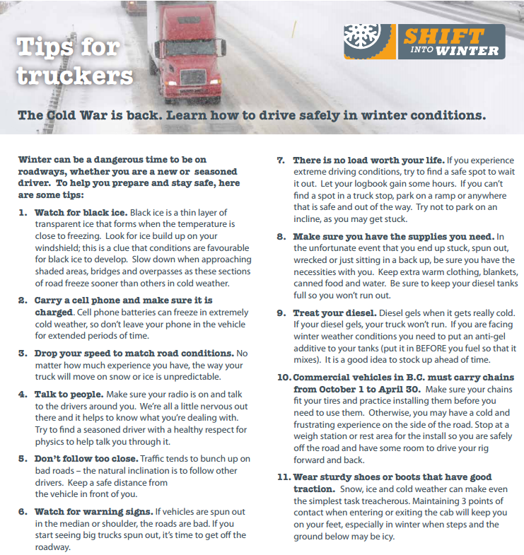winter driving tips for truckers