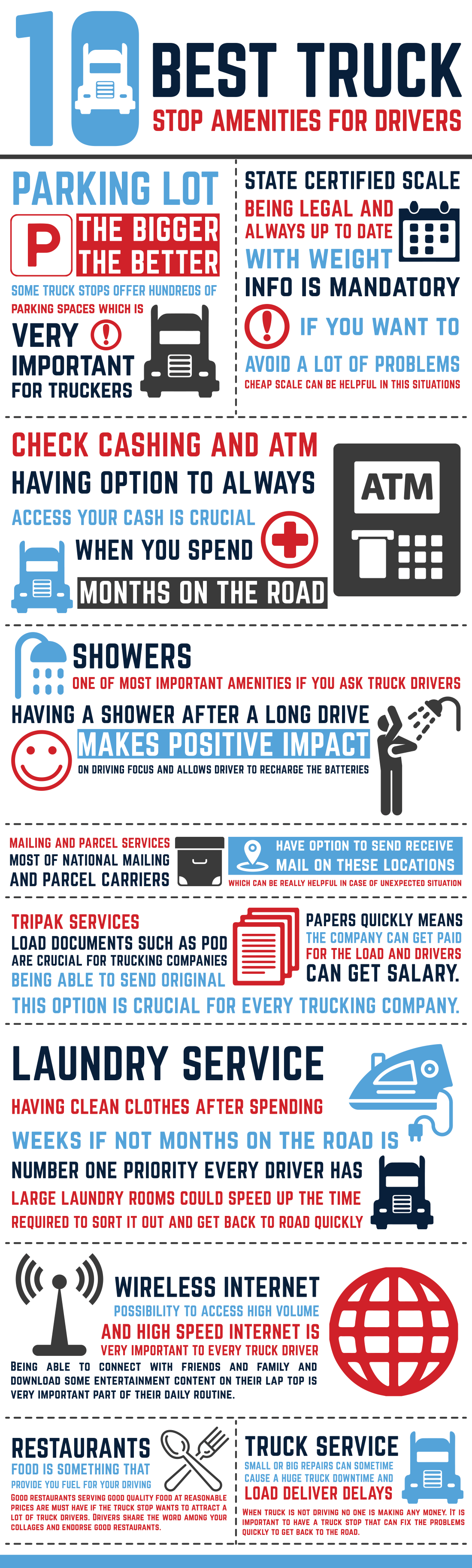 INFOGRAPHIC 10 Best Truck Stop Amenities For Drivers